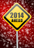 2014 new years illustration with traffic sign — 图库照片