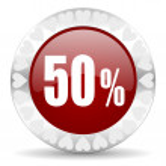 50 percent valentines day icon — Stock Photo #38421611