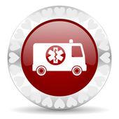 Ambulance valentines day icon — Stock Photo