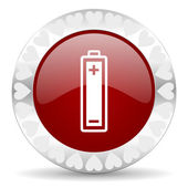 Battery valentines day icon — Stock Photo