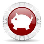 Piggy bank valentines day icon — Стоковое фото