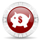 Piggy bank valentines day icon — Foto Stock
