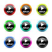 Replay web icons set — Stock Photo