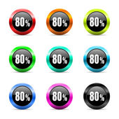 80 percent web icons set — Stock Photo