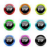 Stop web icons set — Stock Photo