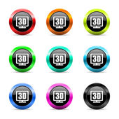 3d display web icons set — Stock Photo