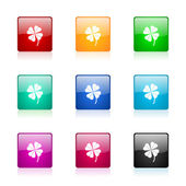 Four-leaf clover web icons set — Stock Photo