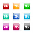 20 percent web icons set — Stock Photo