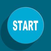 Start blue flat web icon — Stock Photo