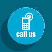 Call us blue flat web icon — Stock Photo