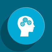 Head blue flat web icon — Stock Photo