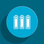 Battery blue flat web icon — Stock Photo