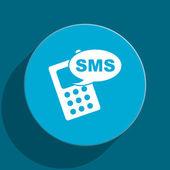 Sms blue flat web icon — Stock Photo
