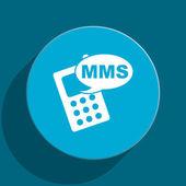 Mms blue flat web icon — Stock Photo