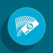 Money blue flat web icon — Stock Photo