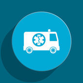 Ambulance blue flat web icon — Stock Photo