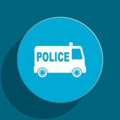 Police blue flat web icon — Stock Photo