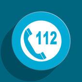 Emergency call blue flat web icon — Stock Photo