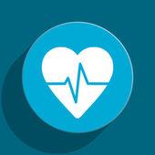 Pulse blue flat web icon — Stock Photo