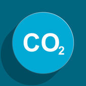 Carbon dioxide blue flat web icon — Stock Photo