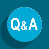 Question answer blue flat web icon — Stock Photo