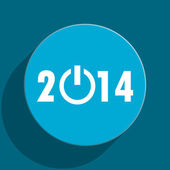 Year 2014 blue flat web icon — Foto de Stock