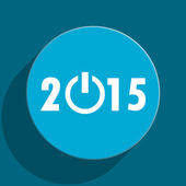 New year 2015 blue flat web icon — Foto de Stock