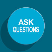 Ask questions blue flat web icon — Stock Photo