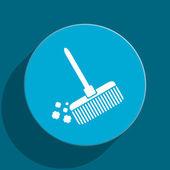 Broom blue flat web icon — Stock Photo