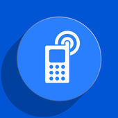 Phone blue web flat icon — Stock Photo