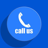Call us blue web flat icon — Stock Photo