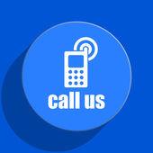 Call us blue web flat icon — Stock Photo