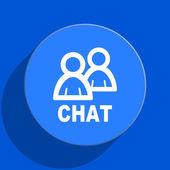 Chat blue web flat icon — Stock Photo