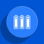 Battery blue web flat icon — Stock Photo