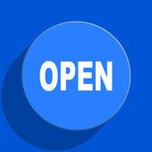 Open blue web flat icon — Stock Photo