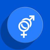Seks mavi web düz simgesi — Stok fotoğraf