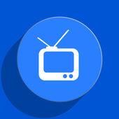 Tv blue web flat icon — Stock Photo