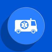 Ambulance blue web flat icon — Stock Photo