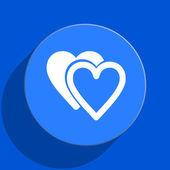 Love blue web flat icon — Stock Photo