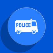 Police blue web flat icon — Stock Photo