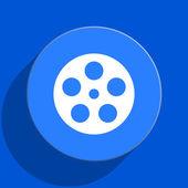 Film blue web flat icon — Stock Photo