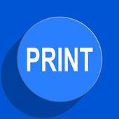 Print blue web flat icon — Stock Photo