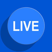 Live blue web flat icon — Stock Photo