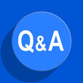 Question answer blue web flat icon — Stock Photo