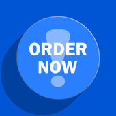 Order now blue web flat icon — Foto Stock