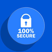 Secure blue web flat icon — Stock Photo