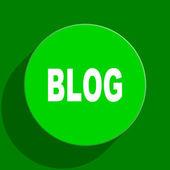 Blog green flat icon — Stock Photo