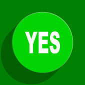 Yes green flat icon — Stock Photo