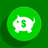 Piggy bank green flat icon — Stock Photo