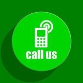 Call us green flat icon — Stock Photo